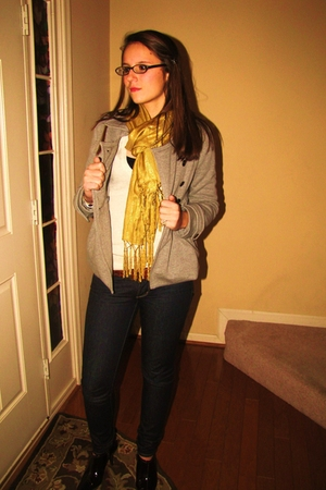 silver PacSun jeans - brown calvin klein shoes - gray delias jacket - gold Macys