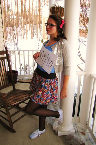 black Forever 21 tights - pink Forever 21 skirt - blue Forever 21 shirt - silver