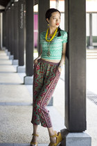 crop top Montifs top - tribal prints Bullhead pants - DMK wedges