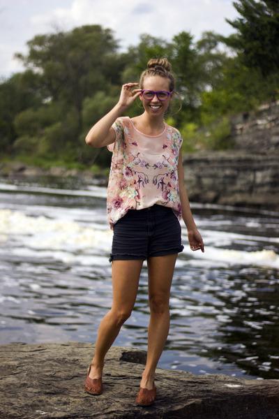 black cutoffs Bik Bok shorts - amethyst hipster firmoo glasses