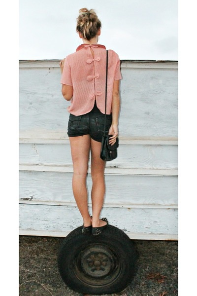 light pink No label top - black Ganson purse - dark gray DIY shorts