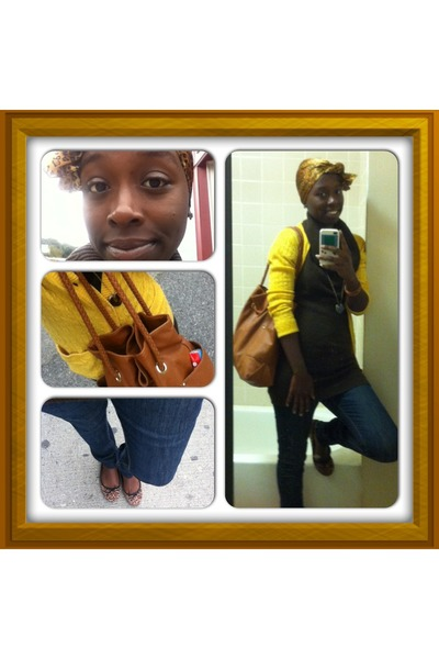 H&M sweater - BDG jeans - animal print scarf - Christian Siriano bag