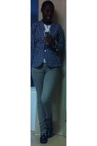navy plaid banana republic blazer - navy rubber plaid Sperry Top-Sider shoes