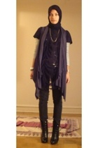 black thrifted t-shirt - black Payless boots - black Madonna for H&M pants