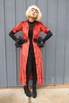worn as a coat vintage dress - Charlotte Russe boots - Forever 21 jeans