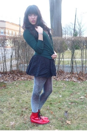 doc martens boots - H&amp;M skirt - Mango sweater - American Apparel intimate