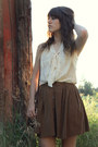 Dark-brown-vintage-bag-brown-skirt-ivory-blouse