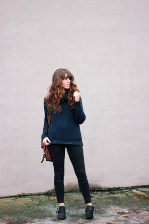 black Shellys London boots - black madewell jeans - navy Forever 21 sweater
