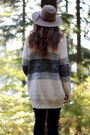 Black-madewell-jeans-camel-urban-outfitters-hat-sky-blue-j-crew-top