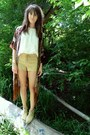 Tan-suede-shorts-crimson-fringe-and-silk-cape