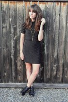 black pleather boots - forest green vintage dress