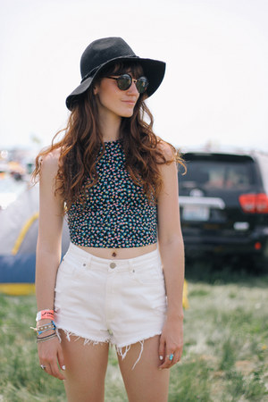 blue cropped garage top - white garage shorts