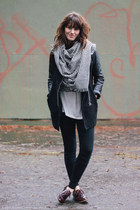white scarf - crimson shoes - black Sheinside coat
