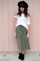 dark green thrifted skirt - black Minnetonka shoes - white cropped top
