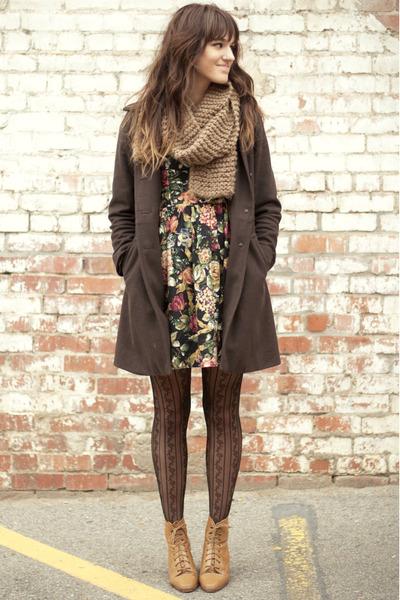 black floral dress - camel vintage boots - army green vintage coat - brown scarf