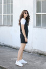 Black-asos-dress-white-topshop-t-shirt-white-reebok-sneakers