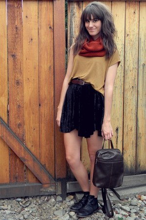 black velvet free people skirt - camel top