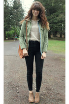 olive green blouse - light brown free people boots