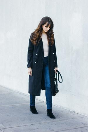 black Missguided coat - black vintage velvet boots - nude Missguided top