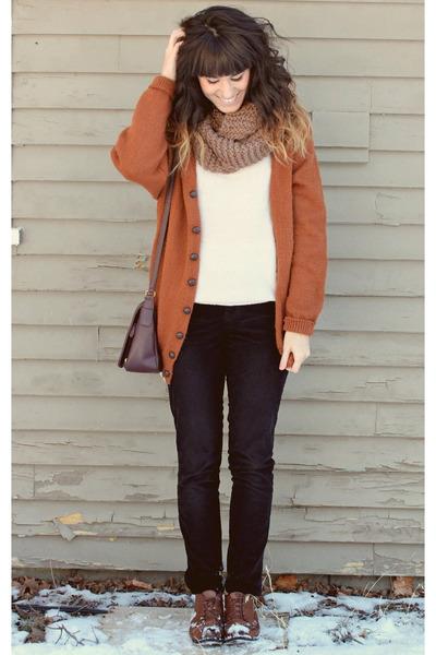 Burnt Orange Cardigans Brown Vintage Shoes Purple Vintage Purses | u0026quot;Time to Get Cozyu0026quot; by ...