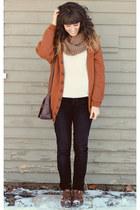 burnt orange cardigan - brown vintage shoes - purple vintage purse
