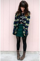forest green vintage-knitted skirt - dark brown vintage boots - black dress