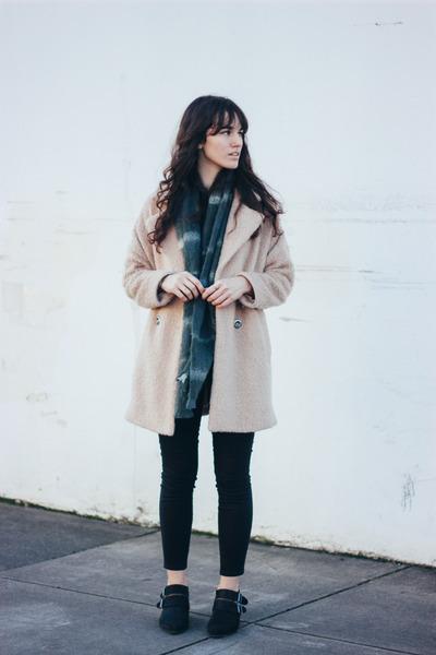 beige free people coat - black Shellys London boots - black TALLEY jeans