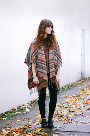 brown free people top - black Shellys London boots - tawny free people cape