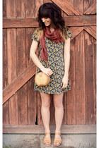 forest green dress - camel vintage bag - mustard vintage sandals