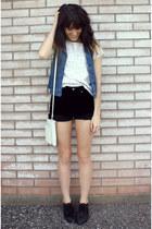 black velvet vintage shorts - white top - blue vintage vest