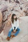 Brown-free-people-boots-sky-blue-levis-jeans-white-forever-21-top