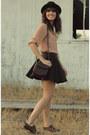 Dark-brown-romwe-skirt-dark-brown-vintage-stetson-hat-peach-blouse