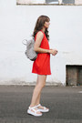 Red-zara-dress-heather-gray-fjallraven-bag-white-teva-sandals