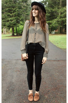 heather gray striped blouse - maroon vintage bag - black high waisted pants