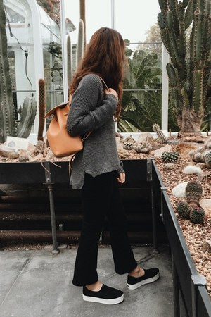 black Frame jeans - charcoal gray Azalea sweater - camel Armadio bag