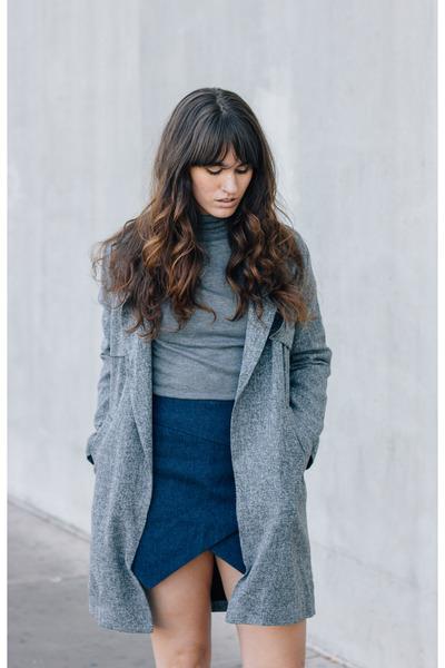 heather gray Lamoda101 coat - navy Lamoda101 skirt - charcoal gray Zara top