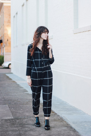 navy jumpsuit free people romper - black Circus by Sam Edelman boots