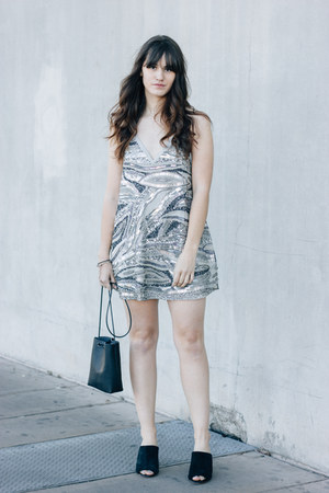 silver NBD dress - black Kozha Numbers bag - black Charlotte Stone heels