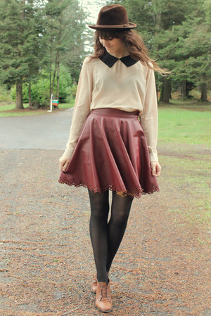 maroon skirt - dark brown vintage hat - peach blouse