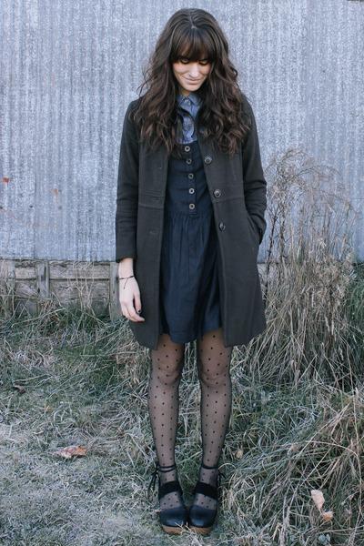 black dress - blue blouse - black free people clogs