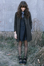 black dress - blue blouse - black free people clogs