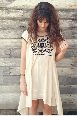 beige embroidered free people dress