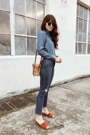 blue The Blue Shirt Shop shirt - navy Frame jeans
