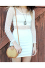 White-cut-out-dress-mustard-vintage-bag-brown-sandals