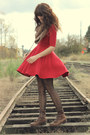 Dark-brown-vintage-boots-ruby-red-black-sheep-clothing-dress