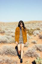bronze Forever 21 coat - black sam edelman boots - teal Zara romper