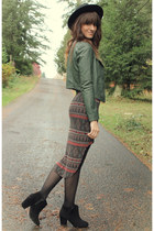 dark green Black Sheep Clothing jacket - black boots - army green dress