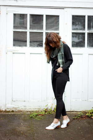 black madewell jeans - white Jeffrey Campbell boots - dark green madewell scarf