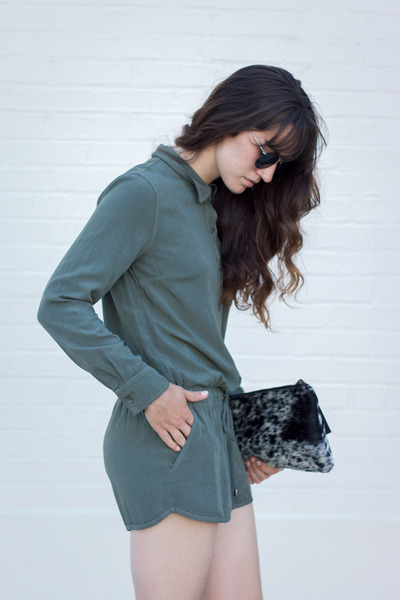 army green Splendid romper - black PRIMECUT bag - black Zara sandals