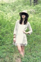 white diy fringe Forever 21 dress - beige crochet cardigan
